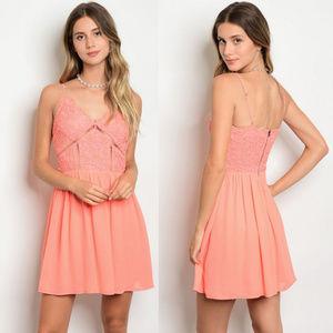 Dresses & Skirts - Lace dress, sexy summer dress, sleeveless coral